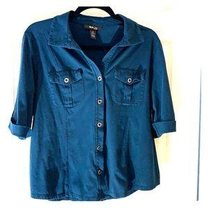 Style & Co. Indigo blue button down top 1X